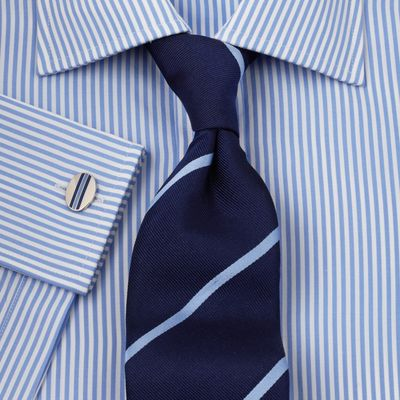 налстук под бело-голубую рубашку в полоску САО