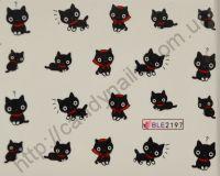 """Водная наклейка для дизайна ногтей """"Кошки"""" BLE-2197"""