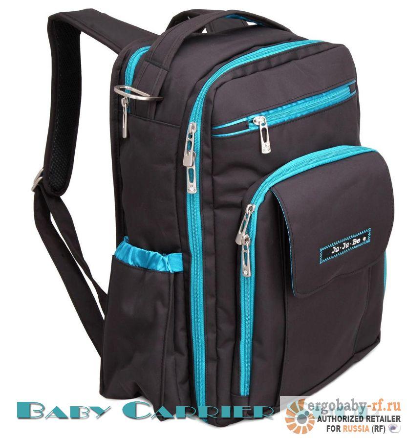 Рюкзак для мамы на коляску JU-JU-BE «Be Right Back Black Teal» Classic Collection JuJuBe [ЖуЖуБи Би Райт Бэк]