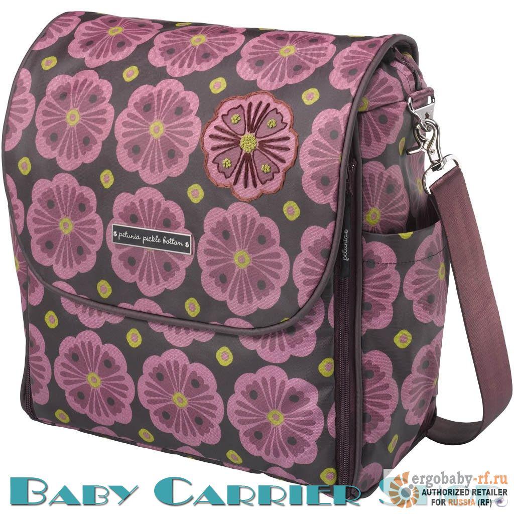 Сумка-рюкзак для мамы на коляску PETUNIA PICKLE BOTTOM «Boxy Backpack Bavarian Bliss» [органический хлопок с принтом, глянцевым покрытием и вышивкой]