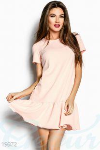 Сasual рокля с къдри в бледо розов цвят